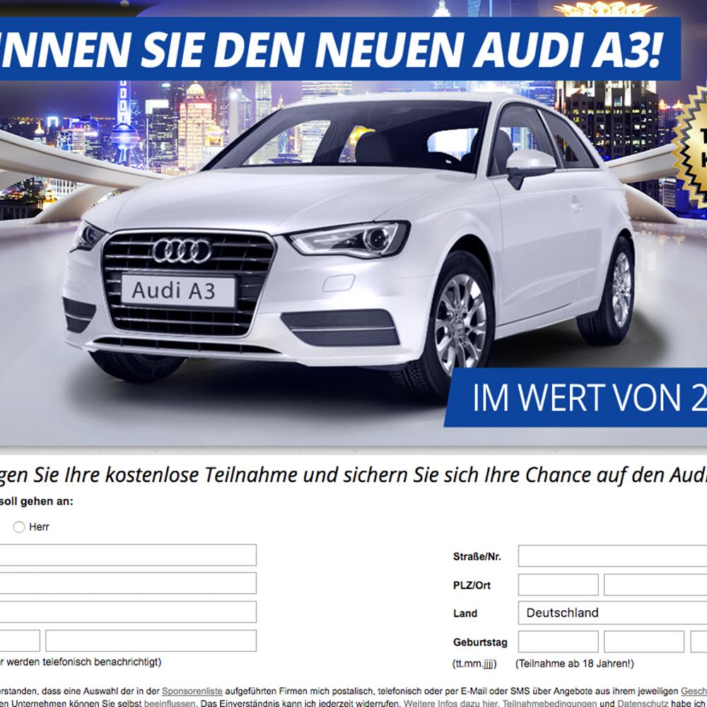Audi A3 - Wunschauto Gewinnspiel (non incent)